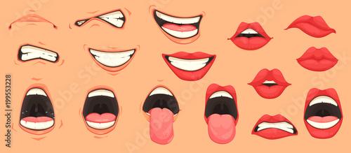 Obraz na płótnie Cartoon Mouth Set