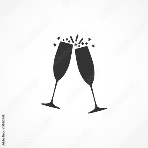 Photo Vector image of the champagne glasses icon.