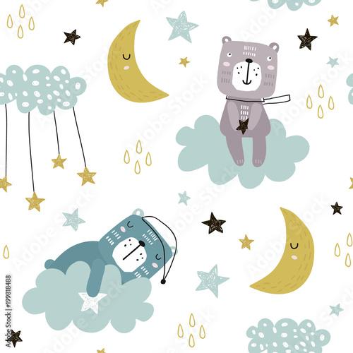 Plakat z wzorem śpiącego misia