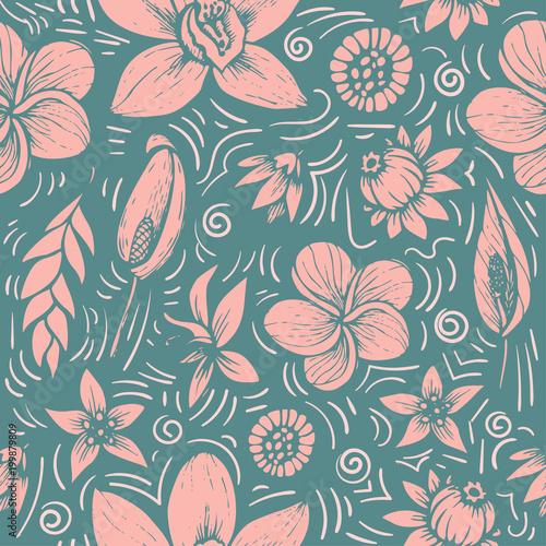 Canvas Print vector seamless beautiful artistic bright tropical pattern with banana, Syngoniu