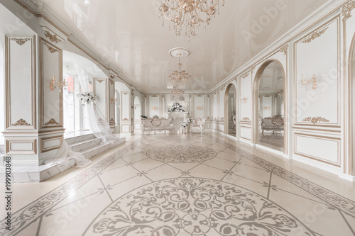 Luxurious vintage interior with fireplace in the aristocratic style Fototapet