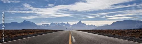 Fotografie, Tablou Road to El Chalten, Fitz Roy mountains at background