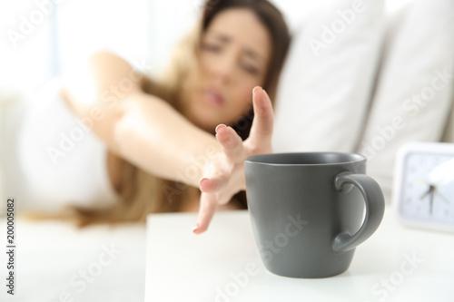 Slika na platnu Woman waking up needing coffee