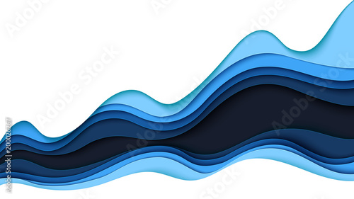 Fotografia Blue abstract paper wave layer cut background