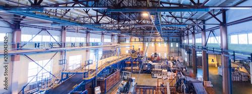 Fotografia Fiberglass production industry equipment at manufacture background, wide-focus l