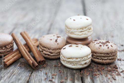 Fotografie, Obraz macarons cannelle et chocolat