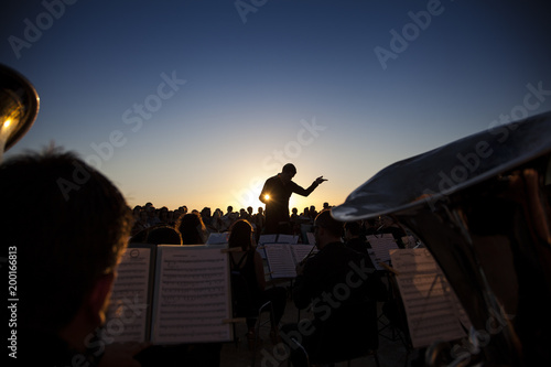 Stampa su Tela Philharmonic orchestra concert at sunset