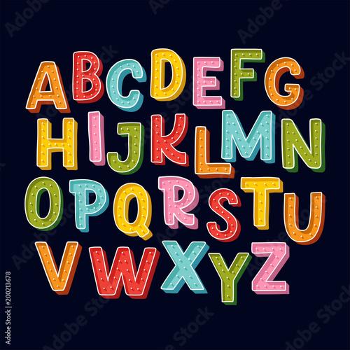 Murais de parede Cute hand drawn alphabet made in vector