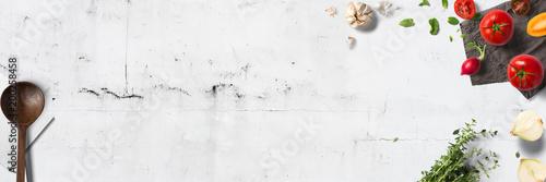 Canvas Print Küche und Kochen - klassische Zutaten - Banner / Hintergrund