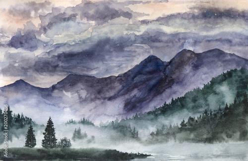 Ręcznie rysowane akwarela krajobraz. Norwegia, zimna natura.