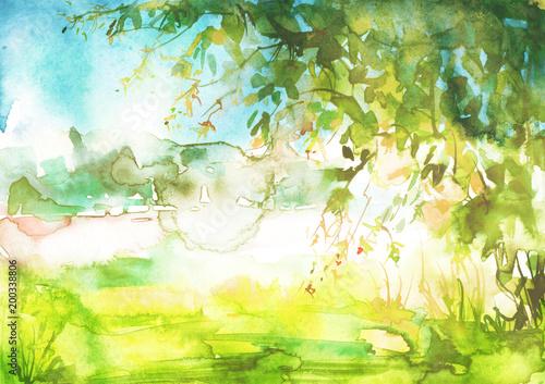Akwarela letni krajobraz. Zielony drzewo na trawie, pole, niebo. Letnie drzewo na tle abstrakcyjnych zielonych plam, odrobina farby. Logo, pocztówka, element projektu.