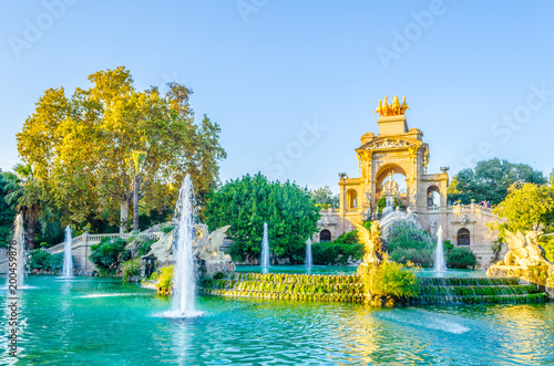 Canvas Print cascada monumental fountain in the ciutadella park Barcelona, Spain