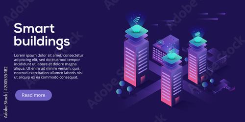 Fotografie, Tablou Smart city or intelligent building isometric vector concept