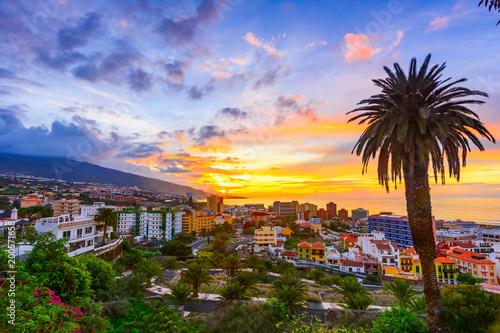 Canvas Print Puerto de la Cruz, Tenerife, Canary islands, Spain: Sceninc view over the city a