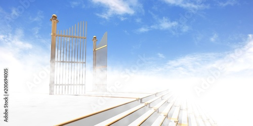 Gates of heaven in fog above stairs with blue sky background - 3d rendering Fototapet