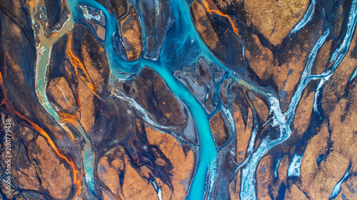 Fotografia Aerial view and top view river in Iceland