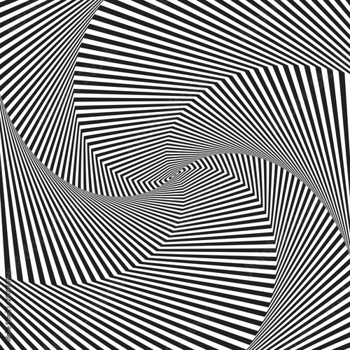 Optical art. Optical illusion background. Modern geometric background. Monochrome vector pattern. Design for wallpaper, wrapping, fabric, background, backdrops, prints, banners.
