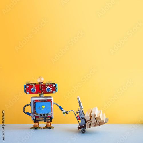 Obraz na plátne Robot moving powered pallet jack with wooden blocks