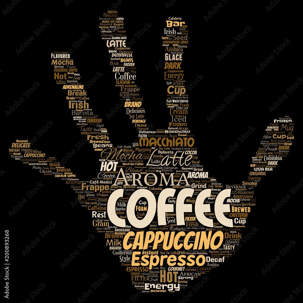 Wektorowego konceptualnego kreatywnie gorącego ranku przerwy przerwy cappuccino lub espresso restauraci lub bufeta napoju napoju słowa włosiana ręka druku odosobnionego. Powitalny tekst koncepcji napoju energii lub smaku <span>plik: #200893268 | autor: high_resolution</span>