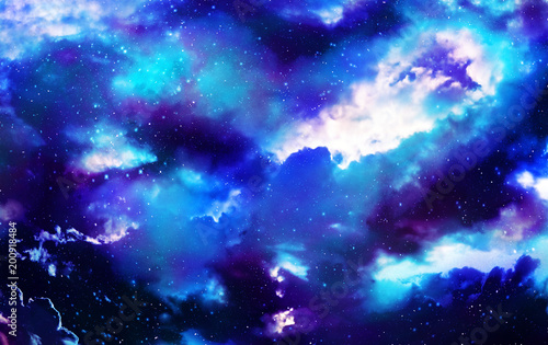 Canvas Print Star and nebular and galaxy background