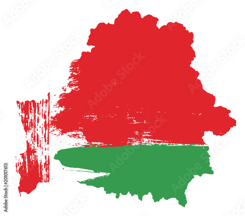 Canvas Print Belarus Flag & Map Vector Hand Painted with Rounded Brush