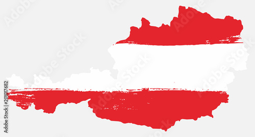 Photo Austria Flag & Map Vector Hand Painted with Rounded Brush