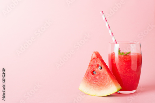 Canvas Print Watermelon smoothie with slice of fruit and leaf of mint