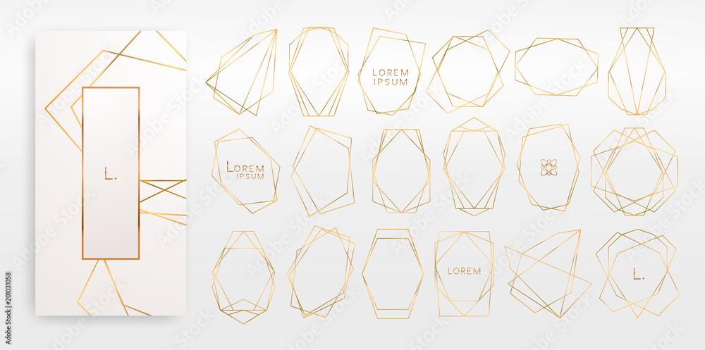 Złota kolekcja geometrycznych wielościanów, w stylu art deco na zaproszenie na ślub, luksusowe szablony, wzory dekoracyjne ... Nowoczesne abstrakcyjne elementy, ilustracji wektorowych, odizolowane na tła. <span>plik: #201031058 | autor: Gluiki</span>