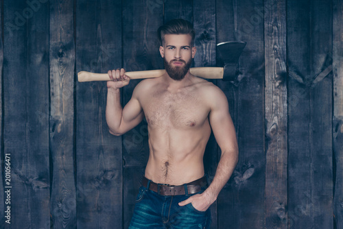 Photo Portrait of attractive sexy strong confident handsome manful brave serious stric
