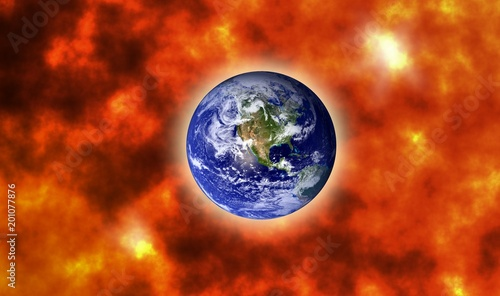 Photo Earth on doomsday with big explosion design