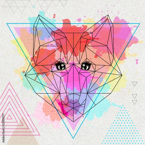 Fototapeta Hipster polygonal animal fox on artistic watercolor background