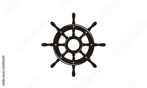 Fotografie, Obraz Steering Wheel Captain Boat Ship Yacht Compass Transport logo design inspiration