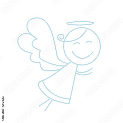 Stampa su Tela Little angel vector icon. Line angel icon