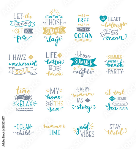 Canvas Print Hand-drawn illustrated lettering quotes about sea / ocean / summer