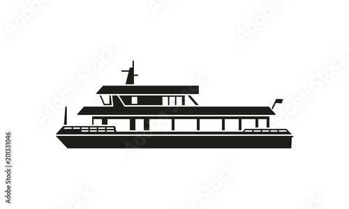 Canvas Print Ferry boat silhouette