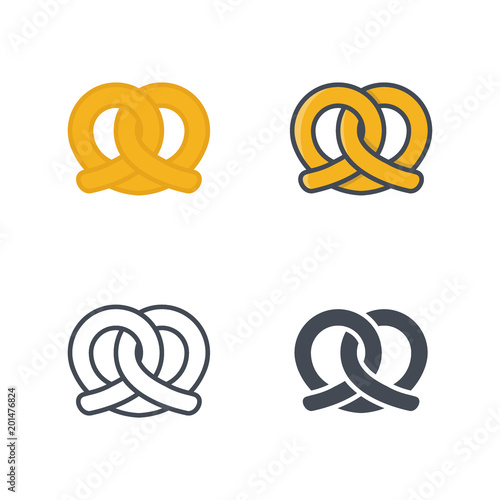 Photo Pretzel bakery food icon vector colored silhouette flat line
