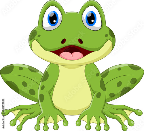 Vector illustration of cute frog cartoon isolated on white background Fototapet