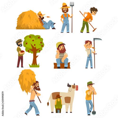 Slika na platnu Farmers at work set, farm worker with gardening equipment vector Illustrations o