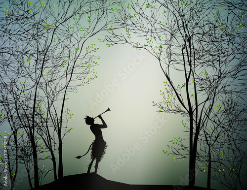 Fototapeta faun playing in the spring forest,