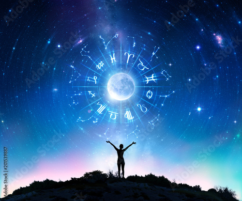 Photo Woman Consulting The Stars - Zodiac Signs In The Sky