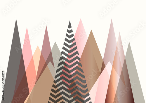 Fototapeta Abstract mountain landscape in Scandinavian style design