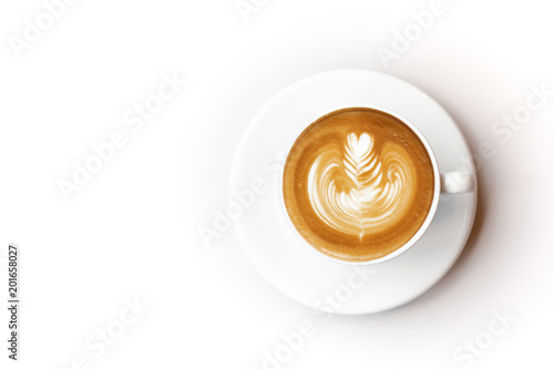 Top view of coffee latte cup on white background Poster Mural XXL