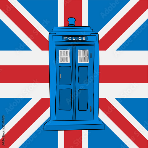 Wallpaper Mural Blue police box on Union Jack