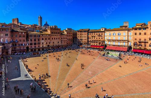 Fototapeta Aerial view of Siena, Campo Square (Piazza del Campo) in Siena, Tuscany, Italy