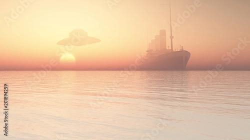 Fotografie, Obraz ufo flying over ocean liner