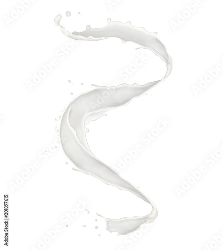 Abstract splash of milk isolated on white background