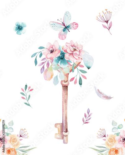 Odosobniony śliczny akwarela jednorożec wpisuje clipart z kwiatami. Nursery jednorożce klucz ilustracji. Księżniczka tęczy plakat. różowy magiczny plakat