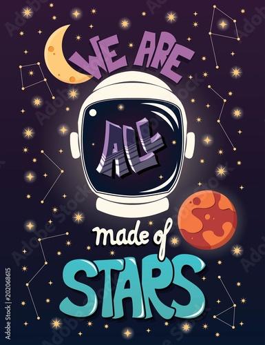 Wszyscy jesteśmy z gwiazd, typografii nowoczesny projekt plakatu z kasku astronauta i nocne niebo, ilustracji wektorowych