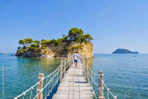 Obraz na plátně Bridge to the small island Cameo, Zakynthos, Greece.