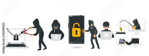 Fotografija Cartoon hackers hacking devices set